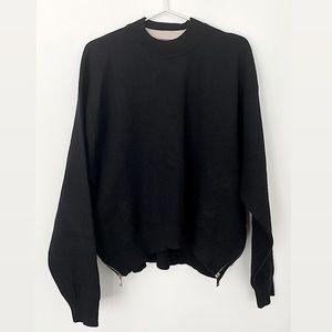 Zara Black Knit Sweater with Size Zipper